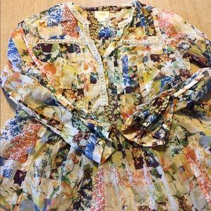 Maeve euc flowered peasant blouse size 10